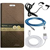 Lenovo K8 Note Lishen Flip Cover Combo, Shanice® Royal Premium Lishen Wallet Imported Lishen Flip Case Cover With Earphone, Aux Cable, Data Cable Combo Brown Brwn Imported Royal Lishen Flip Cover Diary Case Cover Combo For - Lenovo K8 Note