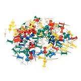 100pz Puntine Disegno Colorate Plastica Metallo Cancelleria Cartoleria