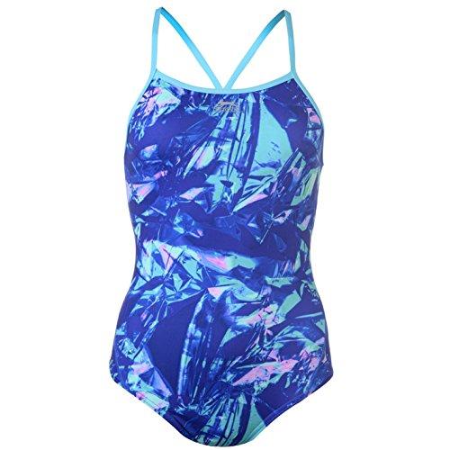 Slazenger Donna Bound Back Costume Da Bagno Stampa Spiaggia Mare Nuoto Estate Blu/Blu