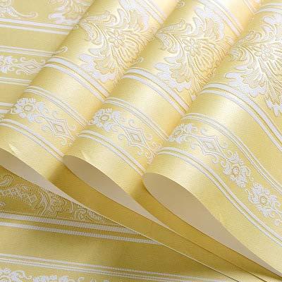 Tapetenatmosphäre Luxus Damaskus 3d Stereo Vliweben Tapete Wohnzimmer Schlafzimmer Modellzimmer-hotel Wallpaper Leichter Golden B Stripe - Libby Stripe