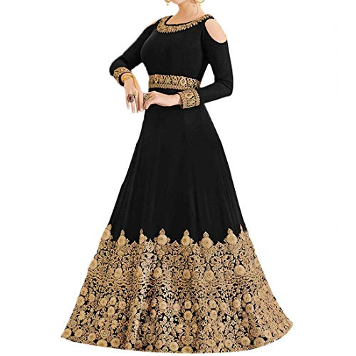 BLACK COLOUR GEORGETTE FABRIC EMBROIDERED ANARKALI SUIT