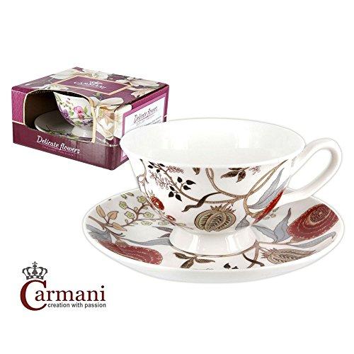 CARMANI - Petite tasse avec soucoupe décoré de fleurs de rouge 220 ml