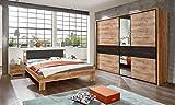 lifestyle4living Schlafzimmer Komplett Set in grau und Eiche-Dekor, 4-teilig | Modernes Komplettset mit Schwebetürenschrank, Bett und Nachtkommoden