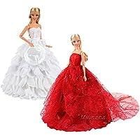 Miunana 2x Novia Vestidos de noche Ropas para Muñeca Barbie 36 cm Doll - Rojo y