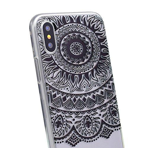 inShang iPhone X 5.8inch custodia cover del cellulare, Anti Slip, ultra sottile e leggero, custodia morbido realizzata in materiale del TPU, frosted shell , conveniente cell phone case per iPhone X 5. Black lace