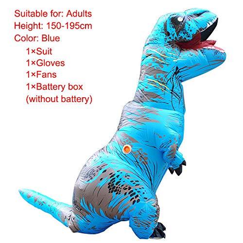 Ferrell Aufblasbare Dinosaurier-Kostüme für Erwachsene Kinder Weihnachten Party Cosplay Kostüme Halloween Adult blau