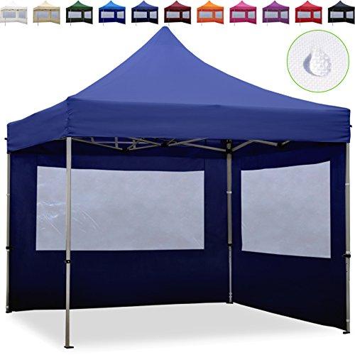 TOOLPORT Faltpavillon Faltzelt 3x3m - 2 Seitenteile ALU Pavillon Partyzelt blau Dach 100{1ca948db142ac9c7547fe950c8aa143dbd3e011f59d23276099152f24c1c09aa} WASSERDICHT