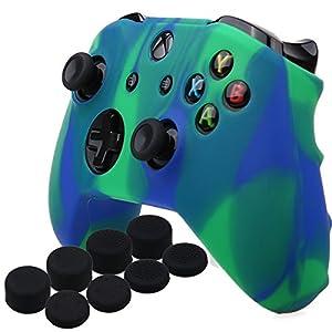 YoRHa Silikon Hülle Abdeckungs Haut Kasten für Microsoft Xbox One X & Xbox One S-Controller x 1 (Blau Grün) Mit Pro aufsätze thumb grips x 8