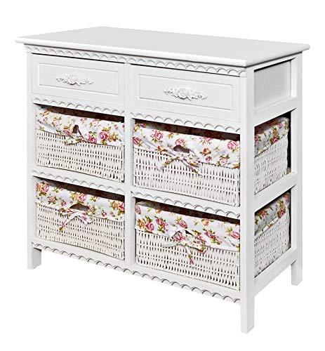 ts-ideen Kommode Badschrank Flurschrank mit 70 cm Breite in Weiss mit Zwei Schubladen und Vier Körben mit rosa-weißem Stoff-Bezug -