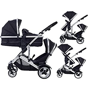 Duel combo Double pushchair with carrycot pram includes 2 FREE footmuffs Newborn & toddler, tandem travel system buggy convertible carrycot to seat unit and toddler/child seat unit, Midnight Black by Kids Kargo  LATEST V4 MODEL Twin independant sun canopy's & peek-a-boo window & auto-locking fold NARROW 72cm WIDTH! All-terrain 3-Wheeler pushchair, suitable for use from Birth to 4 years (approx) Independent Multi-position adjustable backrest, including lie flat with 5-Point Safety Harness 4
