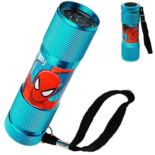 alles-meine.de GmbH Taschenlampe LED - Spider-Man - aus Metall - Mini Lampe / Schlüsselanhänger - 9 Fach LEDlicht - Licht Auto Kindertaschenlampe für Jungen - Metalltaschenlampe .. -