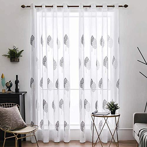 Artife Voile Blatt Stickerei Vorhang mit Ösen Transparent Gardine 2 Stücke Ösenvorhang Schals Fensterschal Vorhänge für Wohnzimmer Schlafzimmer