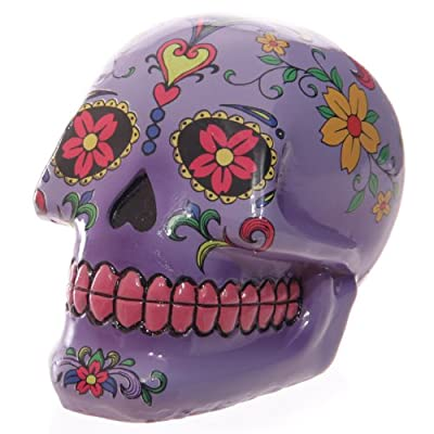 Puckator SK136, Piggy Bank, Mexican Day of the Dead Skull Design, Violet