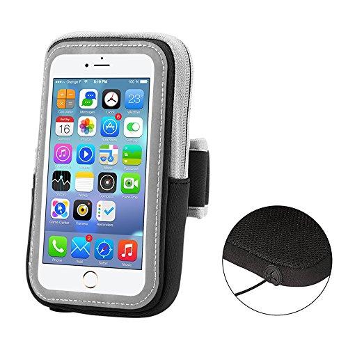 Fascia da Braccio Sportiva, Sport Armband Porta Cellulare Resistente al Sudore, per Camminare, Corsa, Ciclismo per iPhone 7Plus/7/6Plus/6s/Plus/6s/6 Samsung Galaxy Note 5 4 3 Note Edge S5 S6 S7(Nero)