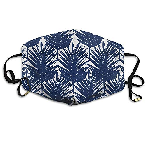 Blue and White Palm Leaves Face Mask, Reuseable Polyester Face Mouth Mask Respirator for Cycling Anti-Dust for Men Women Kids