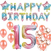 15th Birthday Decorations - Number 15 Balloon - 40 inch Rainbow Gradient Colorful Big Size Number Foil Helium Balloons For Birthday Party Supplies