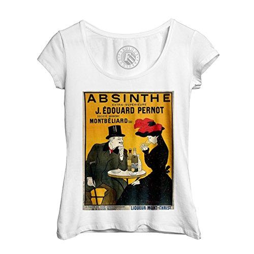 T-shirt Femme Col Rond Echancré Original Retro Absinthe Poster Vieille Affiche (Shirt Absinth Damen)
