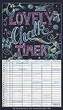 Lovely Chalk Timer 2020: Familienplaner mit 5 breiten Spalten. Typo-Art Familienkalender mit Ferienterminen, Zusatzspalte, Vorschau und vielem mehr. -