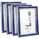 com-four® 4X Bilderrahmen Fotorahmen - Stilvoller Rahmen für Ihre Lieblingsbilder in blau (4er Set Blau 10x15)