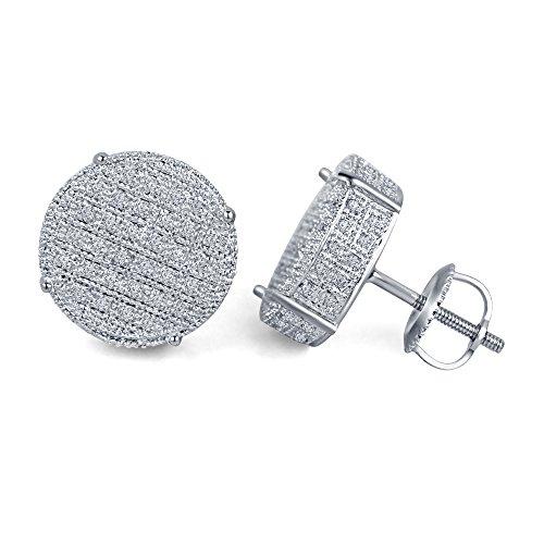 lilu Jewels véritable diamant en argent sterling 925boucles d'oreilles clous ronds à arrière uniquement à vis pour Mesdames White Platinum Plated