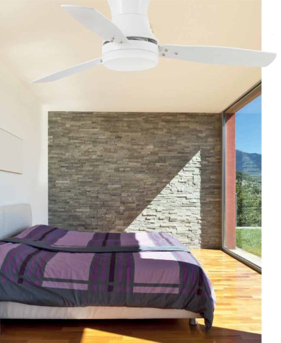 51ebBuIGo1L - Projector Barcelona Tonsay 33384Ceiling Fan with Light, 15W Motor, Wings: Wood and Steel/White Opal Glass Maple Polycarbonate White
