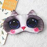 T-YZAG 2 pezzi Maschera per gli occhi ombreggiatura del sonno impacco di ghiaccio ghiacciaia traspirante maschera di ghiaccio caldo rosa coniglio, gatto fantoccio regolabile