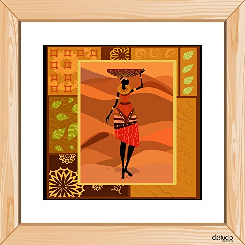 DeStudio African Girl Dressed In A Decorative Light Brown Small Wall Painting Stickers (Wall Covering Area : 30cm X 30cm )-13935  available at amazon for Rs.99