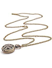 Loto Reloj de bolsillo - SODIAL(R)Moda Vintage Retro Bronce cuarzo reloj de bolsillo Collar pendiente de cadena (loto)