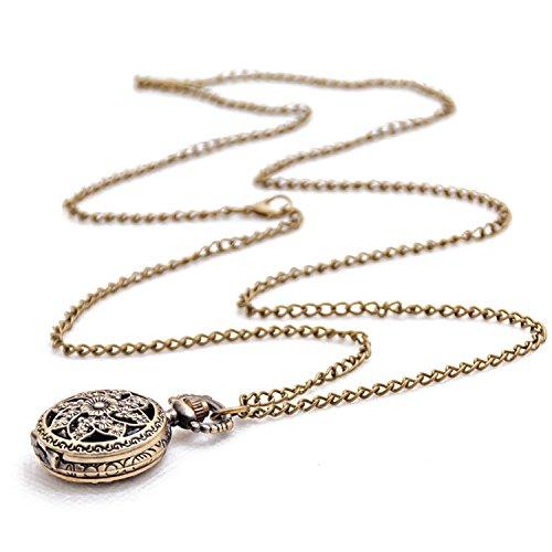 Loto Reloj de bolsillo - SODIALRModa Vintage Retro Bronce cuarzo reloj de bolsillo Collar pendiente...