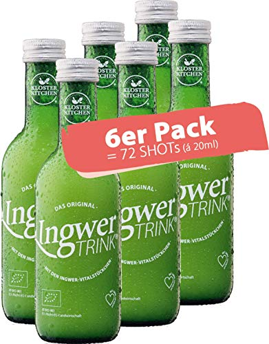 6er Pack - 100% BIO IngwerTRINK – 12 x 20ml - mit über 40g frischen BIO Ingwer-Stückchen Zitrone und Agave - vegan - 250ml Flasche - kein Presssaft kein Konzentrat - das Original