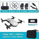 DishyKooker Quadricoptère Pliable RC Drone x Pro 5G Selfie WiFi FPV avec 4K HD Double caméra Paquet de Batterie Simple Argent 1080p