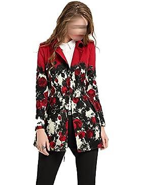 Sra. De La Moda De Impresión Slim Y Largas Secciones Chaqueta Rompevientos Rojo Multi-tamaño,Red-l