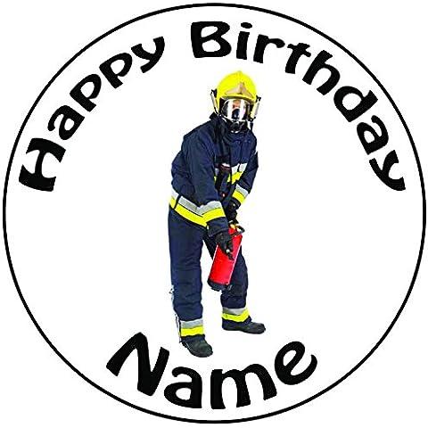 Personalizzabile pompiere–Topper per torta a pre-cut rotondo 8