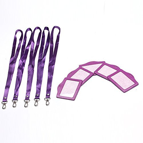 emeskymall-5pcs-horizontal-style-purple-name-id-tag-badge-card-holder-with-purple-lanyard-by-esky-ma