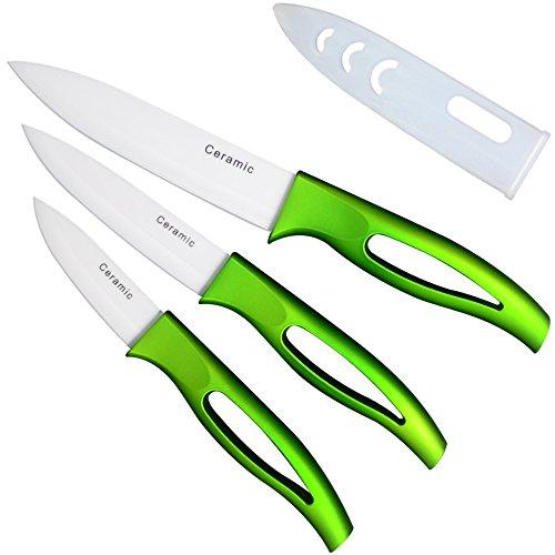 Top Qualität Köche Keramik Messer ein Set + Sicherheit elastikfutterale für geschnittenes Obst Gemüse & Fleisch sehr hot Sales Schablone Kochen jetzt kaufen.