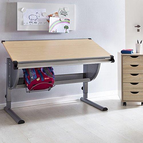 FineBuy Design Kinderschreibtisch Michi Holz 120 x 60 cm Buche | Mädchen Schülerschreibtisch neigungs-verstellbar | Schreibtisch Kinder höhenverstellbar