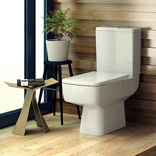 Modern Bliss Semi Flush zu Wand kurz Projektion-WC weiß Pfanne & Spülkasten mit Soft Close Sitz Badezimmer WC (Semi Flush Bs)