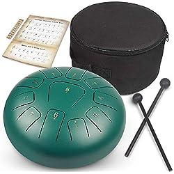 Tambour à languette,GUNAI 10 pouces Tambour Hand pan en acier Instrument à percussion avec baguettes de tambour Sac de transport Baguettes de baguette pour méditation Yoga Zazen Sound Healing