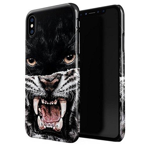 iPhone X Hülle BURGA Lethal Hunter Savage Wild Panther Vs Tiger Dünn Robuste Rückschale aus Kunststoff Für iPhone X Schutzhülle Schutz Case Cover