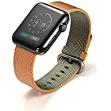 Kartice for Apple Watch Band, Tissé Nylon Bandes Remplacement Bracelet Bracelet Bracelet avec Boucle Classique pour Apple Watch / Sport / Edition (Or/Rouge, 38mm)