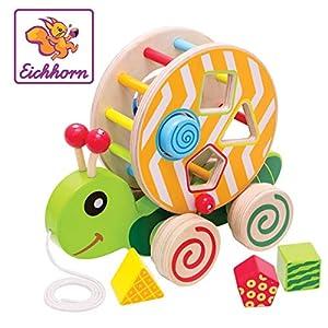 Eichhorn 100002231 Juguete de Arrastre - Juguetes de Arrastre (Multicolor, Madera, 1 Mes(es), Niño, Niño/niña, Caracol)