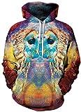 YuanYan Herren Lose Fit Hoodie - Langarm 3D Druck Muster Kapuzenpullover Sweatshirt Pullover Oversize für Herbst und Winter