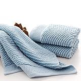 JUNHONGZHANG 3 STK Dicke Gekämmte Baumwolle Handtuch Set Badetuch Für Erwachsene Handtuch 650 GSM Water-Absorbent Toallas, Blau Grau