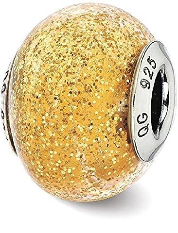 IceCarats 925 Sterling Silver Charm For Bracelet Italian Dark Yellow Gold Glitter Glass Bead Glas