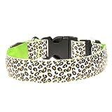 REXSONN® LED Halsband für Hunde oder Katzen Halsbänder Hundehalsbänder Hundehalsband Polyester Nylon Hundegeschirr & Hundeleinen Pet Dog collar Harness Leash Leopard
