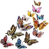 12 tlg 3D Wandtattoo Wand Aufkleber Schmetterlinge im 3D-Style Wanddekoration mit Klebepunkten zur Fixierung Holeider