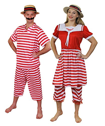 ILOVEFANCYDRESS Nostalgie Paare BADEANZÜGE VIKTORIANISCHEN Zeit=ROT/WEIß GESTREIFTES BADE KOSTÜME 20iger 30iger Jahre=Retro KOSTÜM VERKLEIDUNG Fasching Karneval Gruppen VEREINE = MÄNNER-XL+Frauen-M (20er Jahre Kostüm Für Paare)