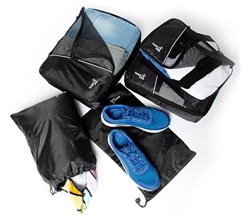 HOPEVILLE Kleidertaschen-Set 5-teilig, mit 3 Koffertaschen - PLUS einem Wäschebeutel und einem Schuhbeutel, Premium Packing Cubes für perfekt organisiertes Reisegepäck (Rot) Schwarz