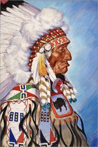 ild 60 x 90 cm: Sioux-Häuptling von W. Langdon Kihn/National Geographic (Traditionelle Kleidung Von Amerika)