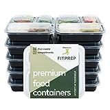 FITPREP Original 3 Fach Meal Prep Container 10er Pack | Modell 2018 | Stabil, verstärkt, Qualitativ Hochwertig | Kompakt, platzsparend und dennoch 1 Liter Volumen